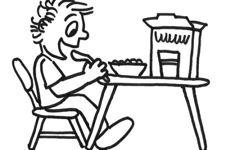 Eating Breakfast Clipart Black And White.