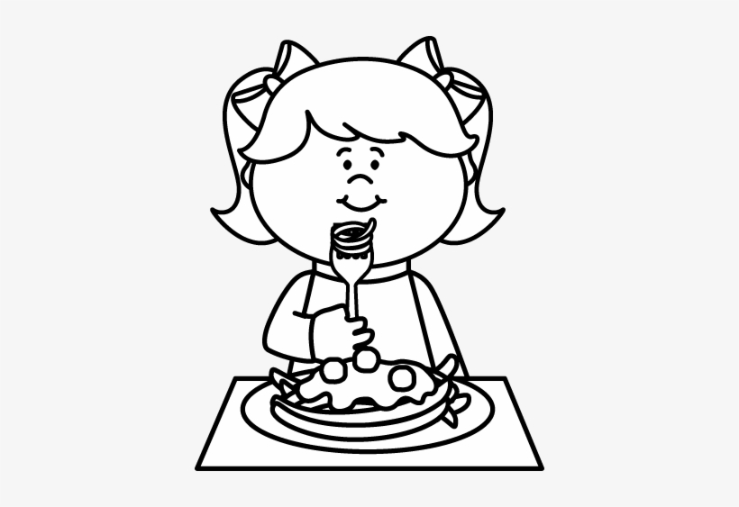 Black And White Kid Eating Spaghetti Coloring.