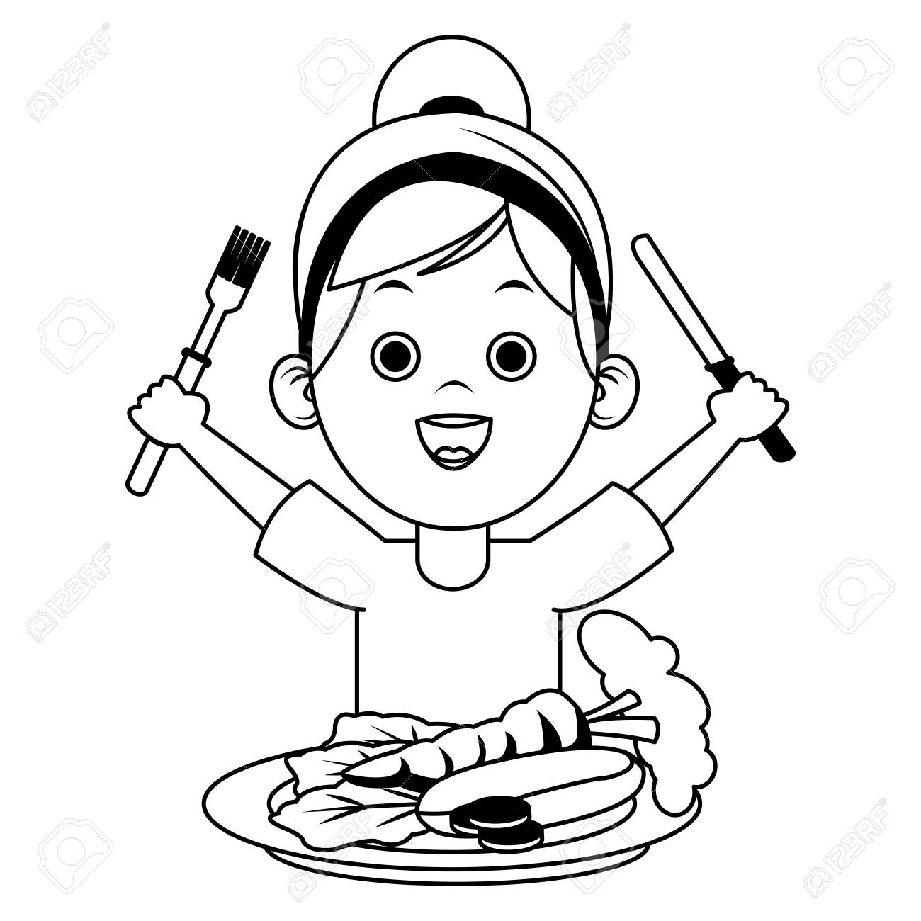 Cute girl eating fruits with cutlery on black and white colors...