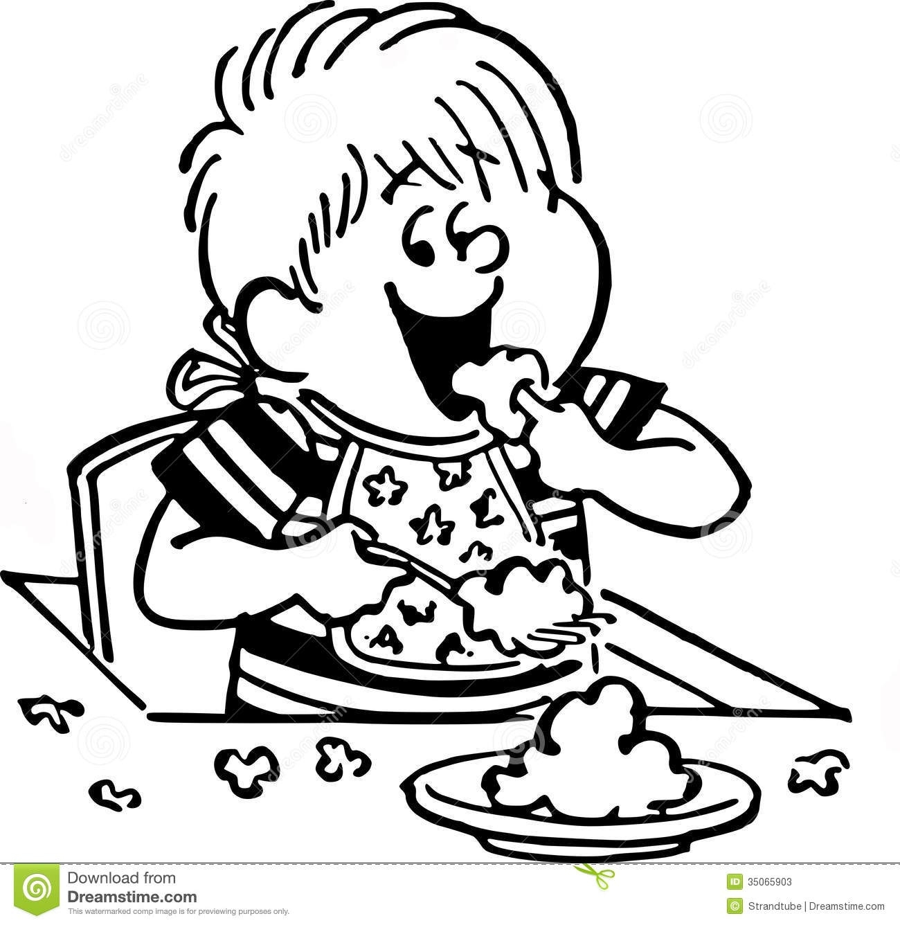 Clipart Eating Black And White Pertaining To Dinner 20 Of.