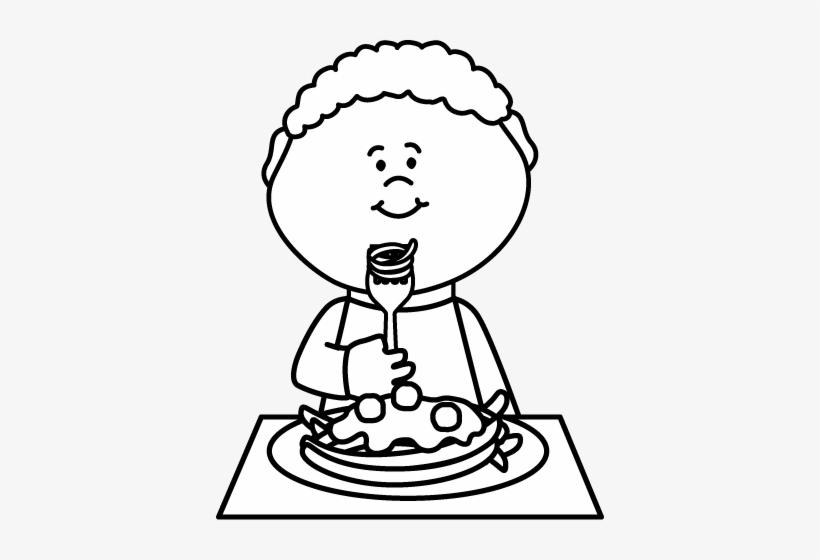 Luxury Free Spaghetti Clipart Black And White Boy Eating.