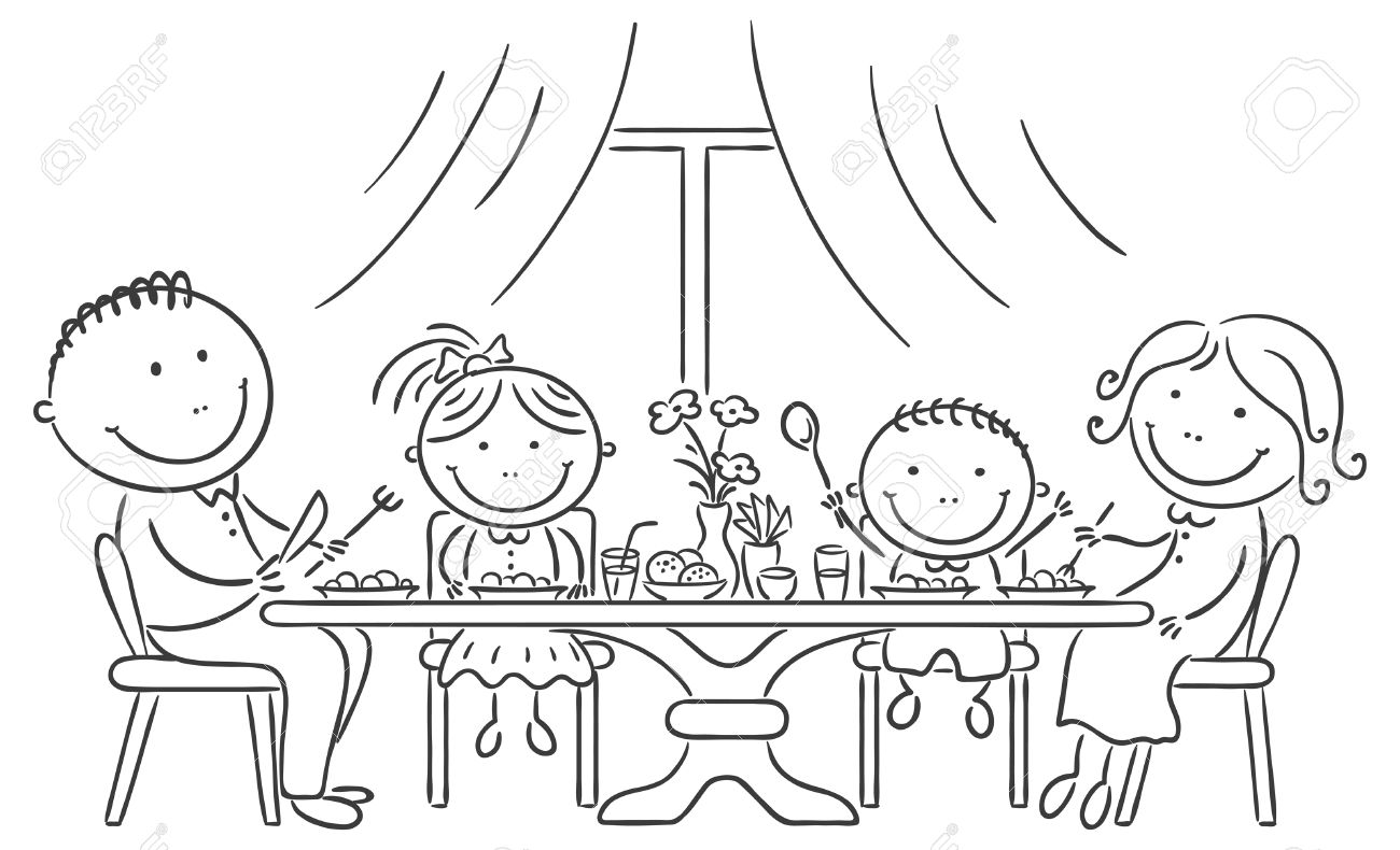 Family Eating Together Clipart Black And White.