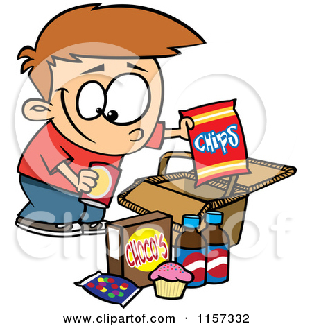 Kids eating junk food clipart.