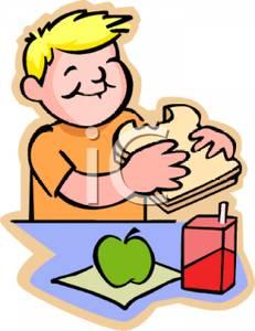 Kid eating food clipart.