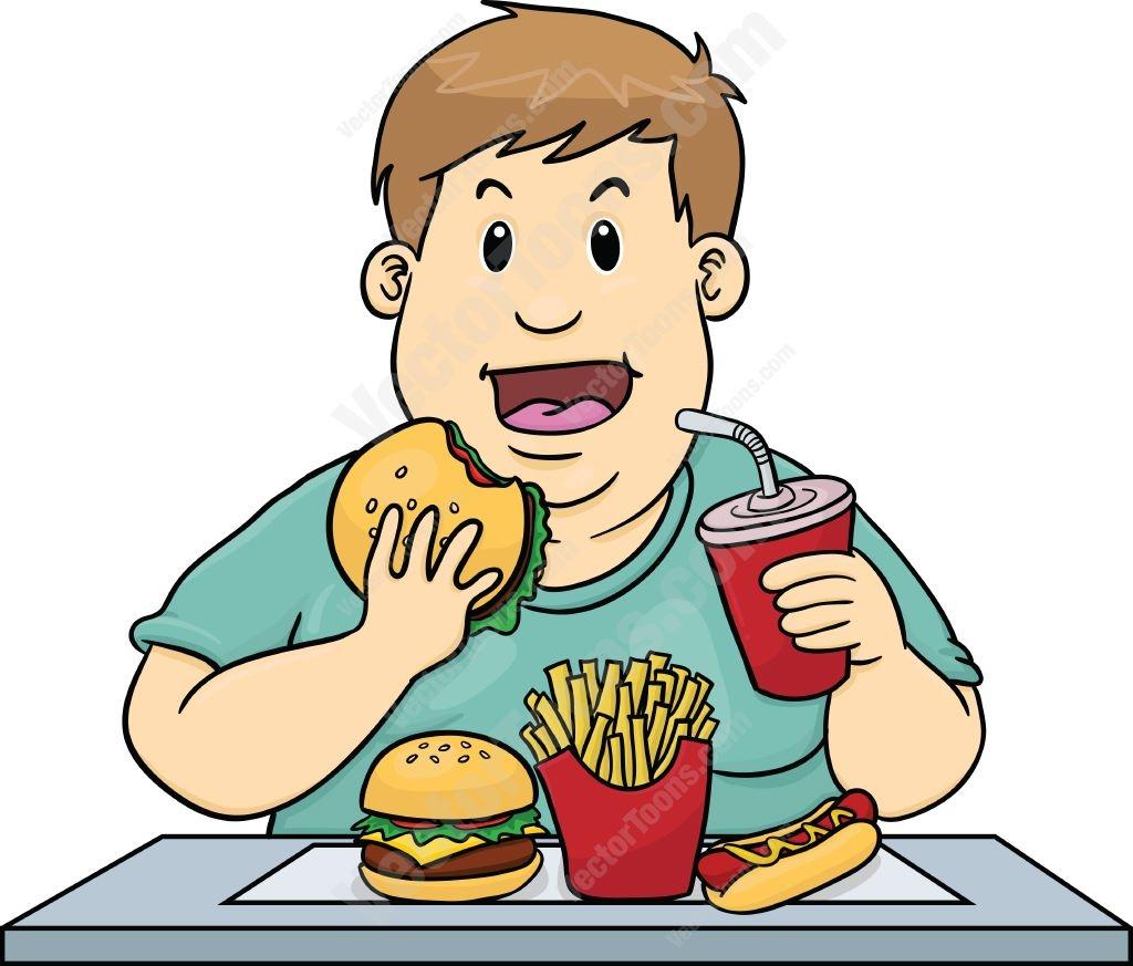 Kids eating junk food clipart.