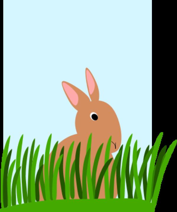 Rabbit eating grass clipart.