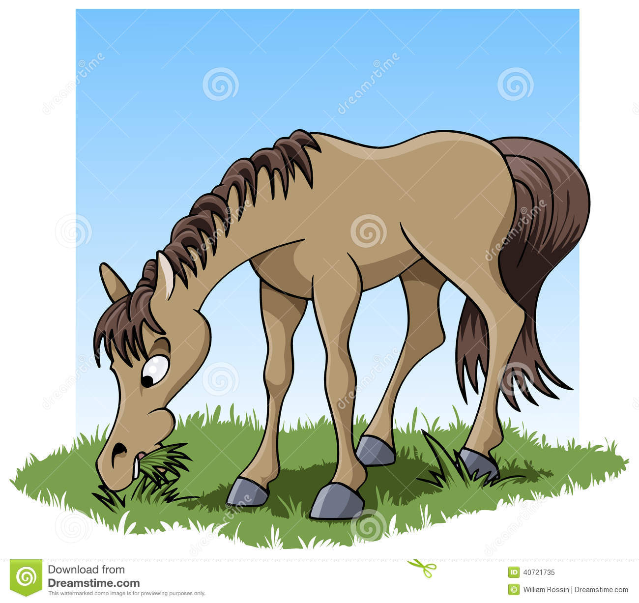Animals eating grass clipart.