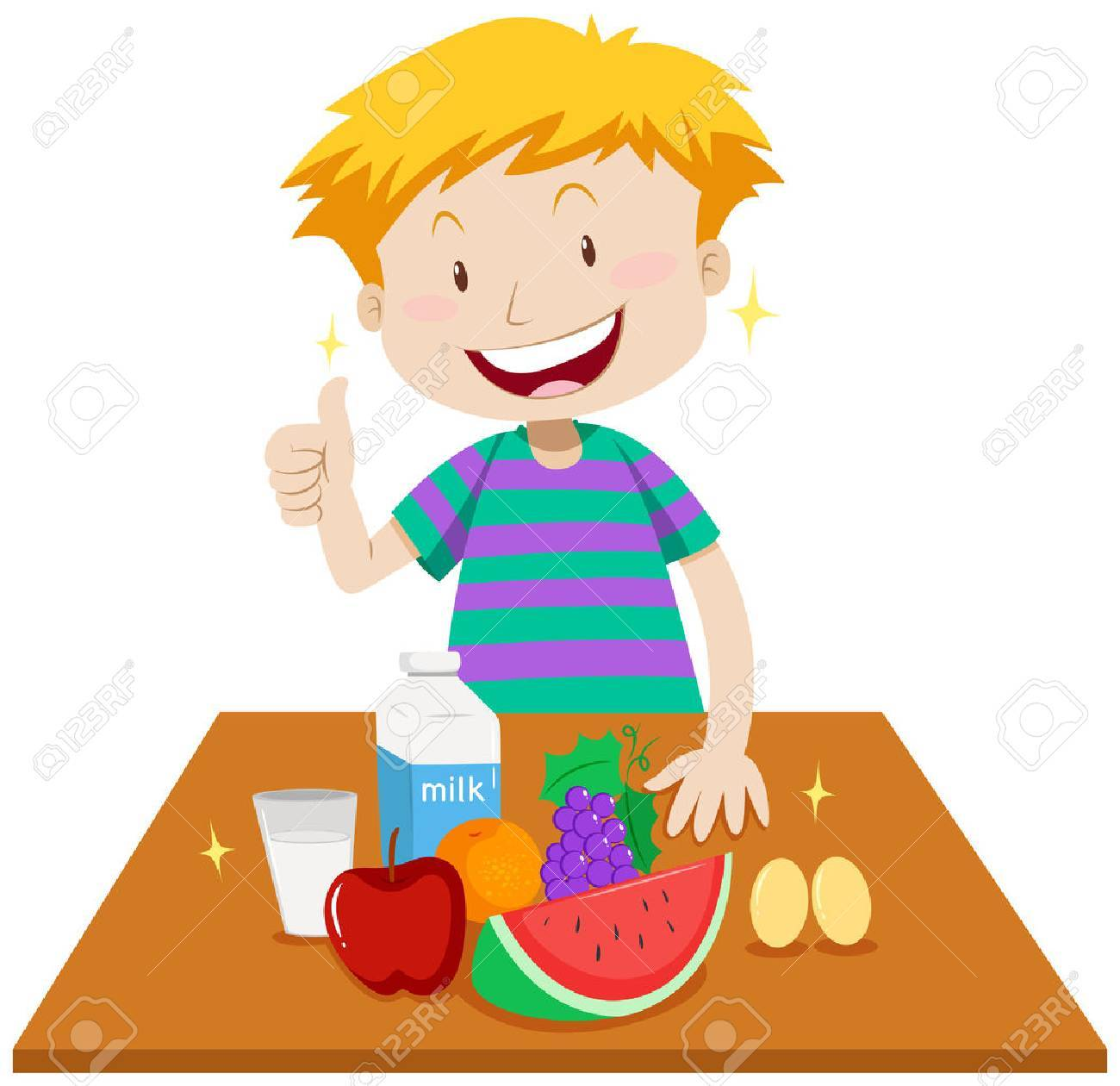 Boy eating healthy foods clipart 4 » Clipart Portal.