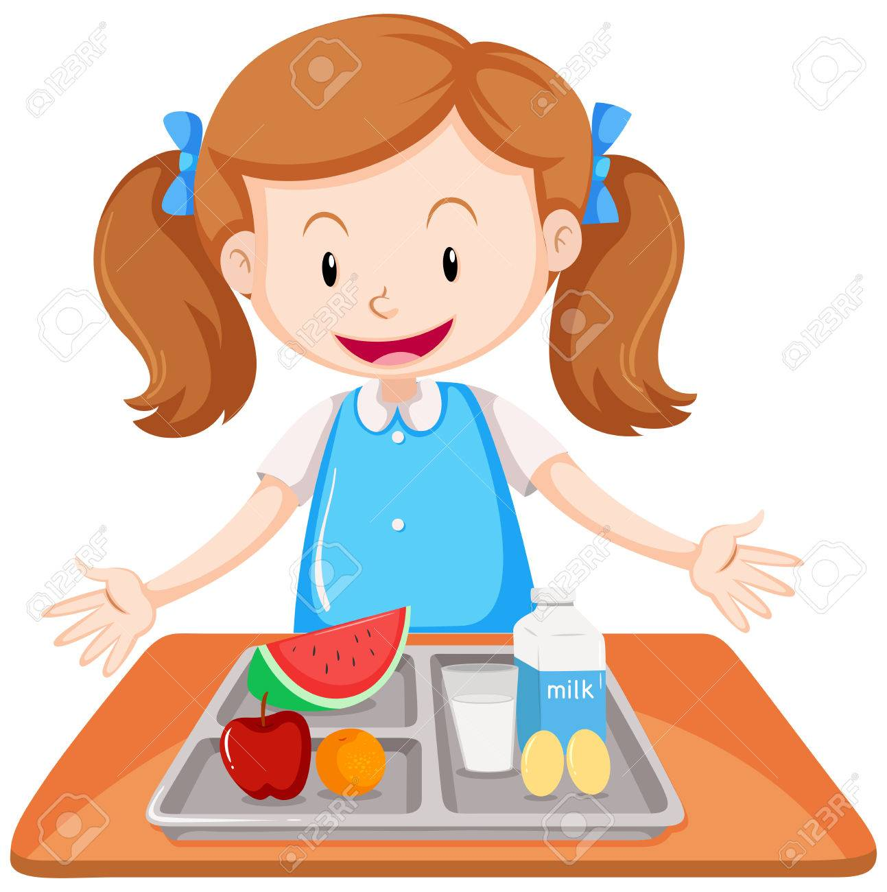 Girl having lunch on table illustration.