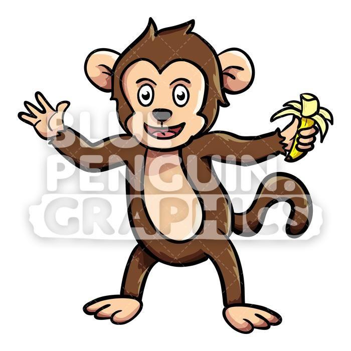 Monkey Eating Banana Vector Cartoon Clipart Illustration.