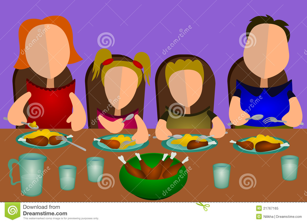 Family Eating Together Royalty Free Stock Photo.