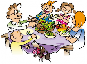 Making a point to eat together as a family.