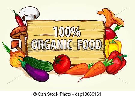 Clip Art Vector of healthy organic food.