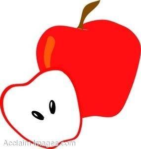 Half Eaten Apple Click Here Clipart.