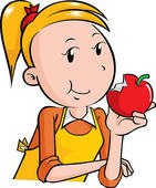 Eating apple clipart.