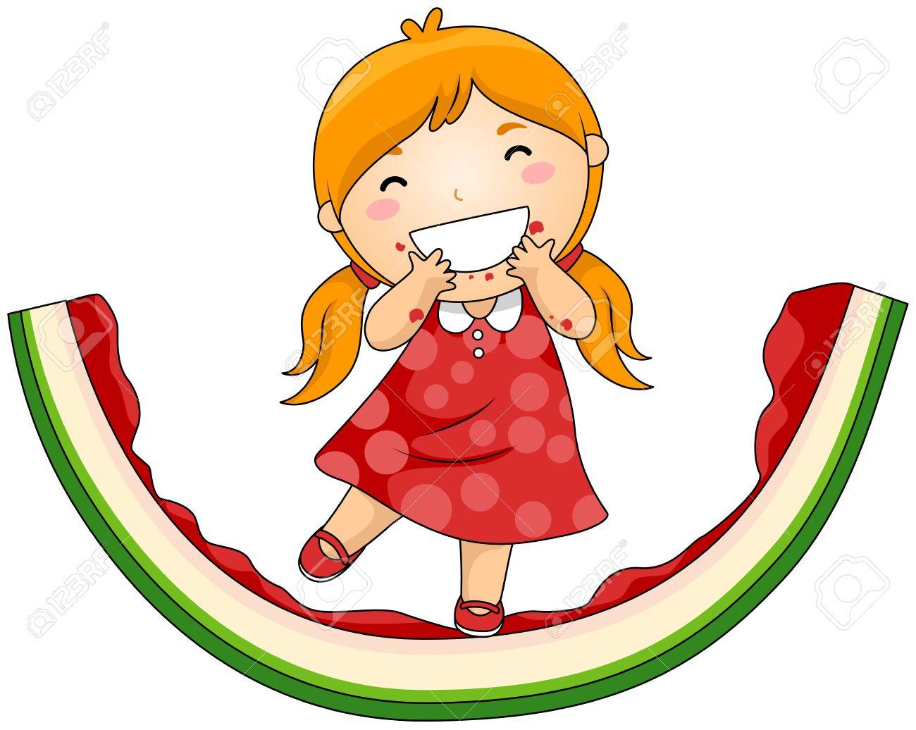 Cartoon Kid Eating Watermelon