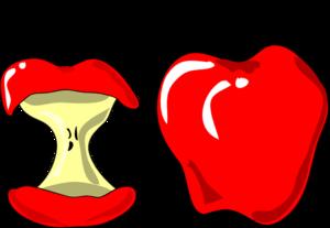 Eaten apple clip art.