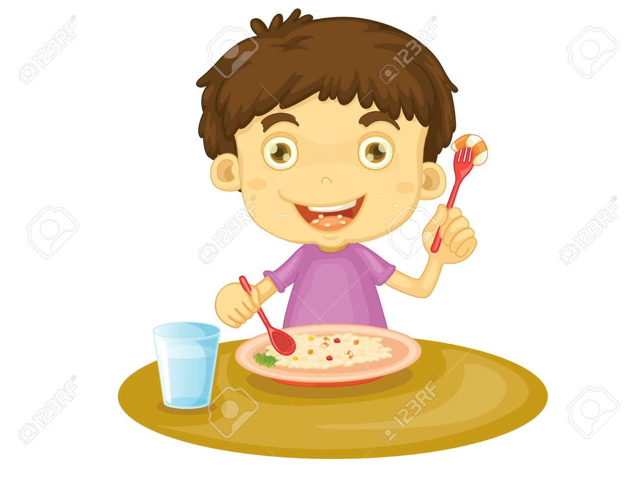 Illustration Of Child Eating At A Table Royalty Free Cliparts.