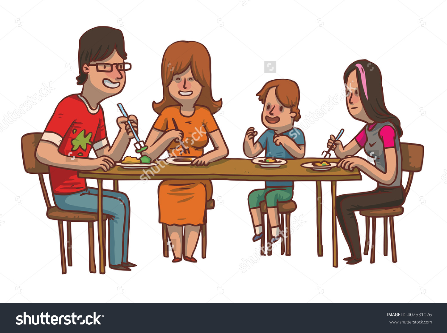 Vector Cartoon Image Family Dinner Father Stock 402531076