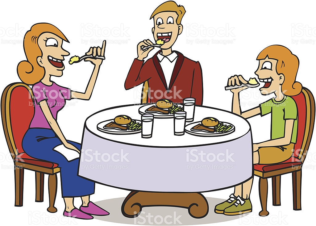 Family Sitting At Dinner Table Eating Food stock vector art.