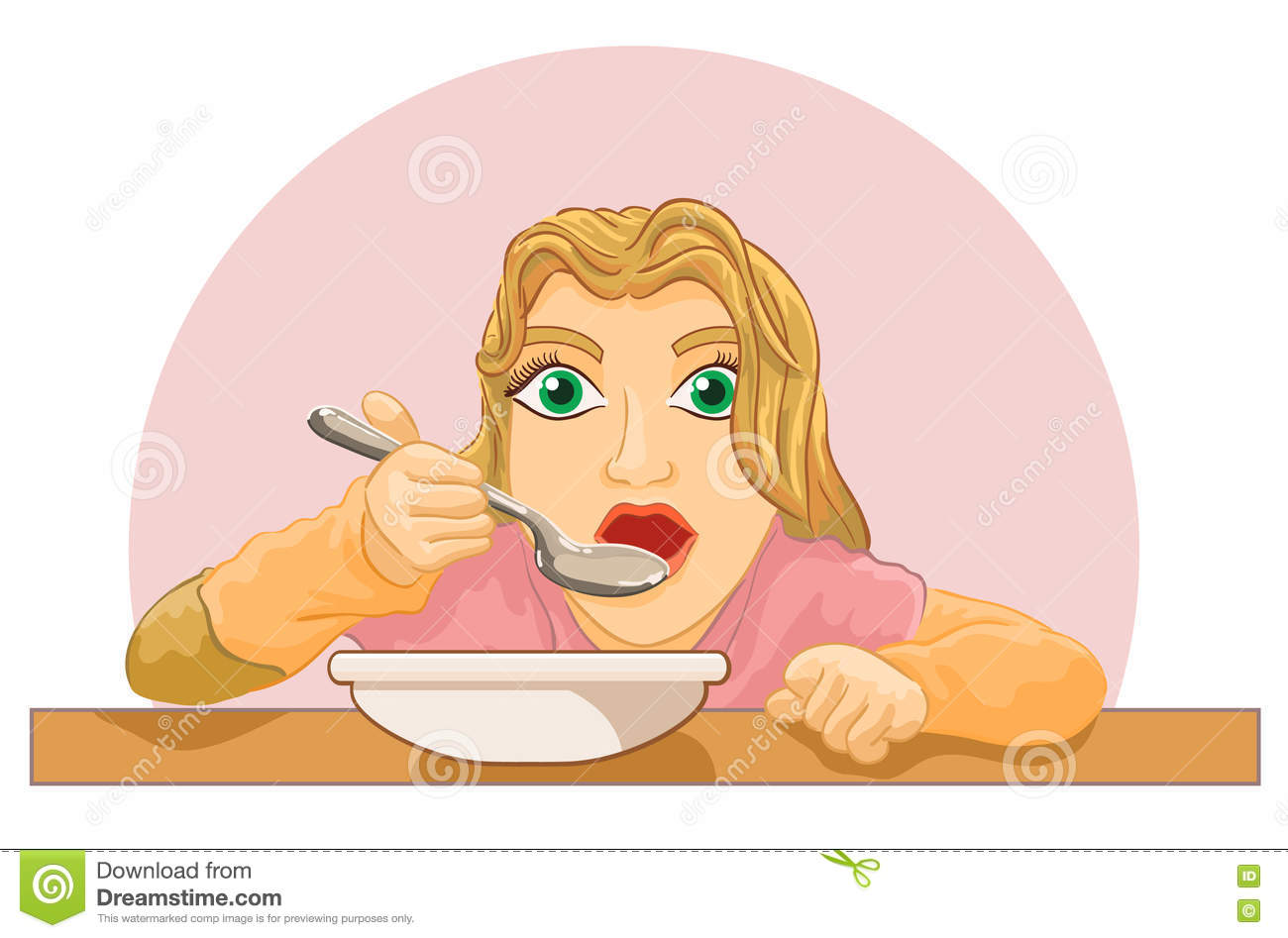 Girl Eating Food At The Table Stock Vector.