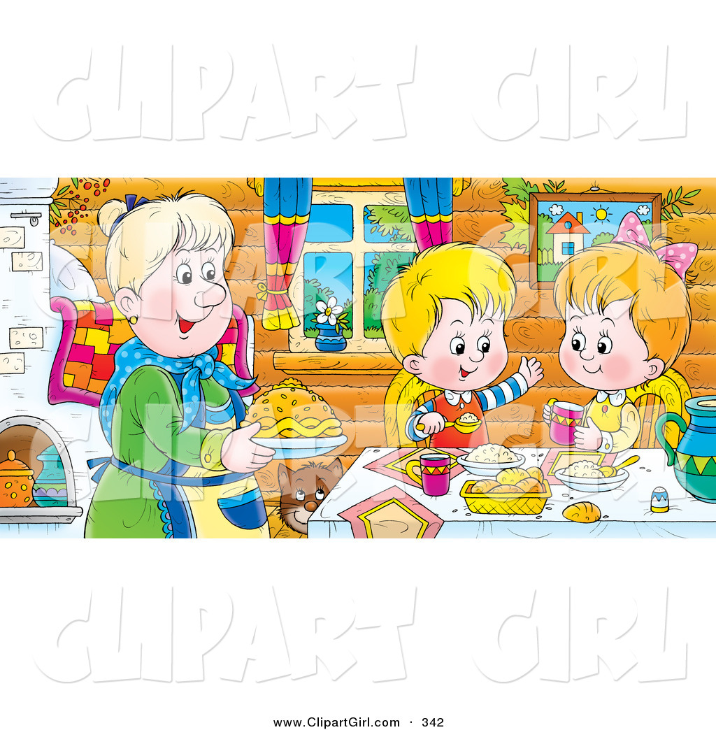Clip Art of a Cheerful Boy and Girl at a Table, Eating Fresh Food.
