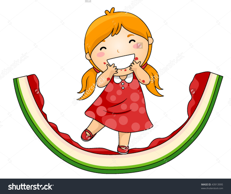 Girl On Eaten Watermelon Vector Stock Vector 43913995.