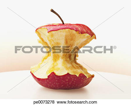 Pictures of Close up of eaten red apple pe0073278.