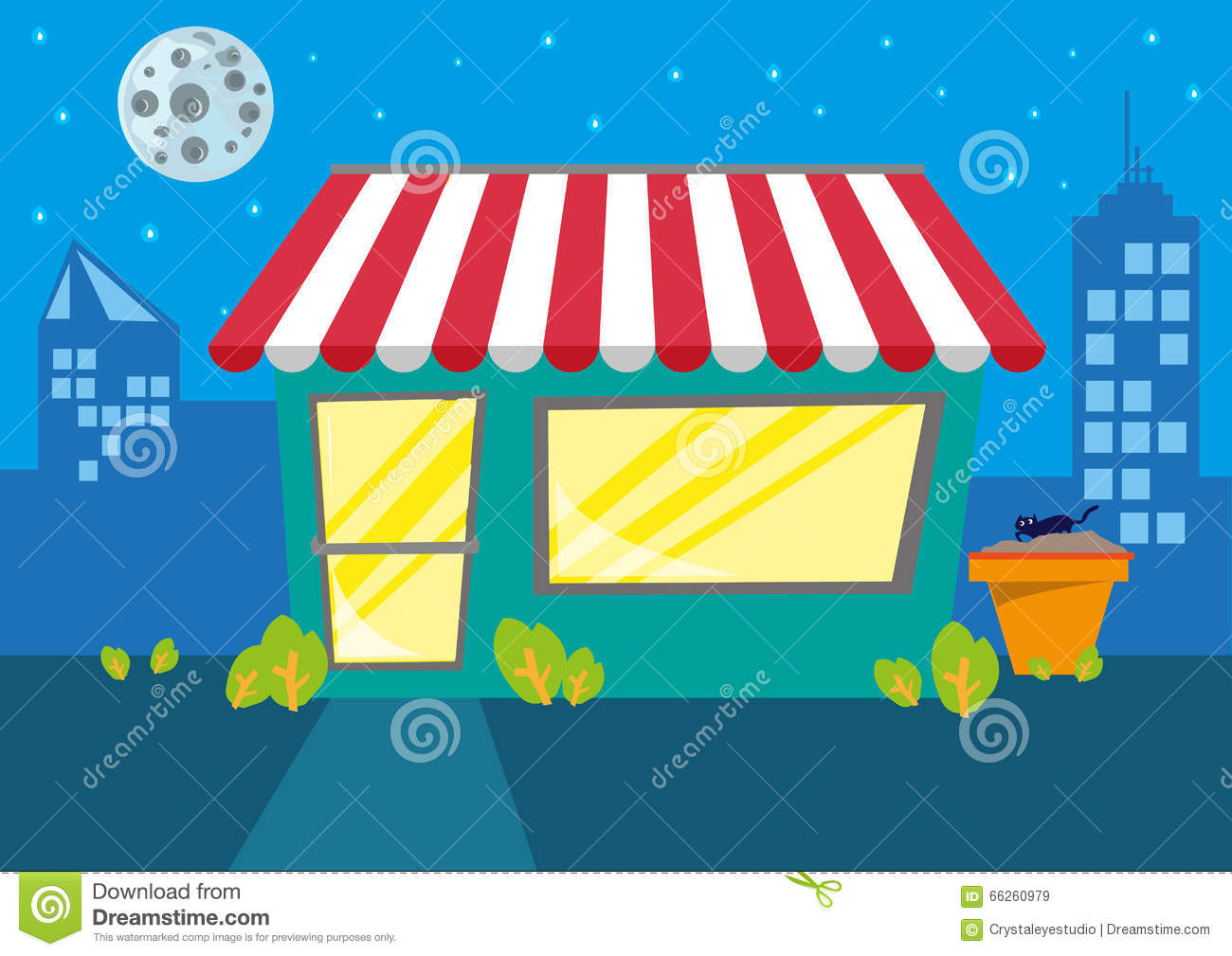 A Store Or Restaurant At Night In The City. Editable Clip Art.