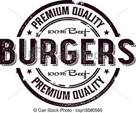 Clip Art Vector of Vintage Burger Menu Stamp.