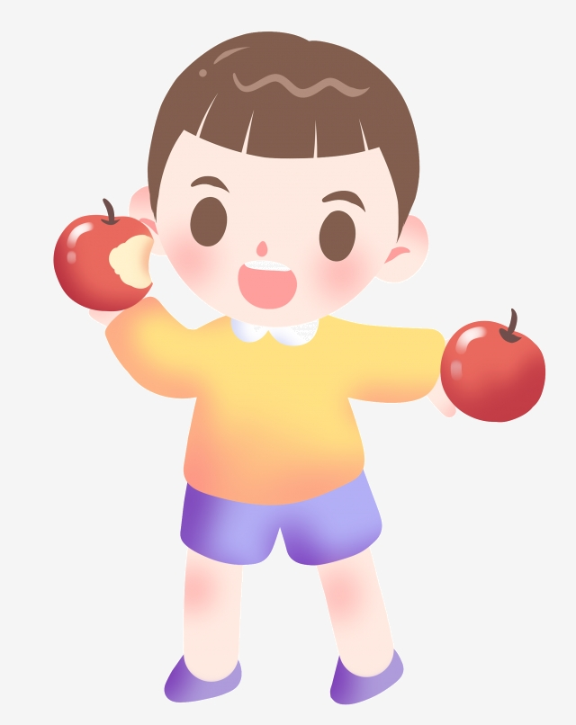 Little Boy Illustrator Eating Apple, Boy Eating Apple, Red Apple.