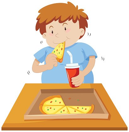 Man eating pizza and drinking soda Clipart Image.