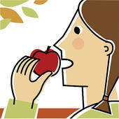 To eat an apple clipart.