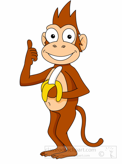 Monkey thumbs up eating banana clipart » Clipart Station.