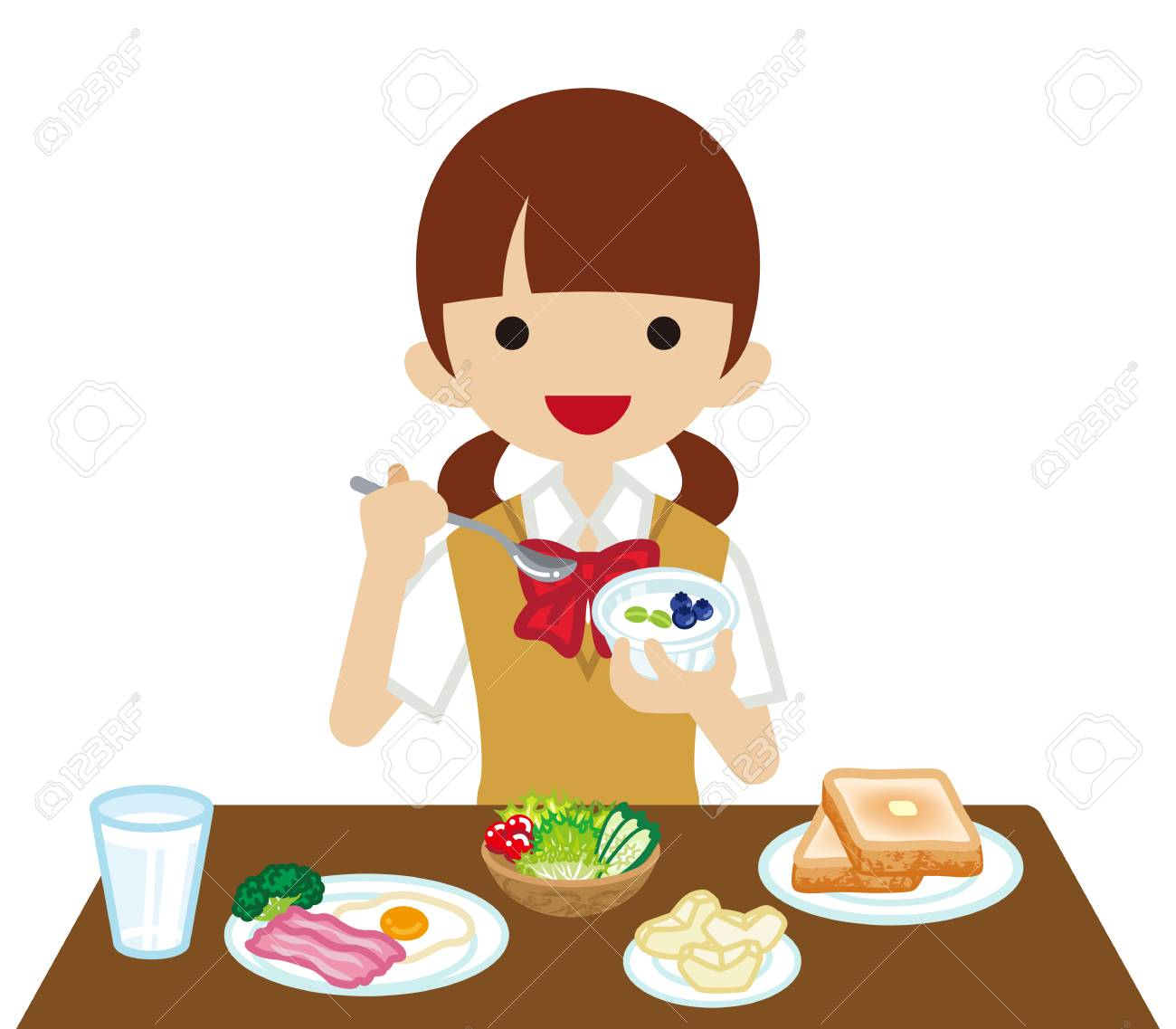 Schoolgirl eating Breakfast » Clipart Station.