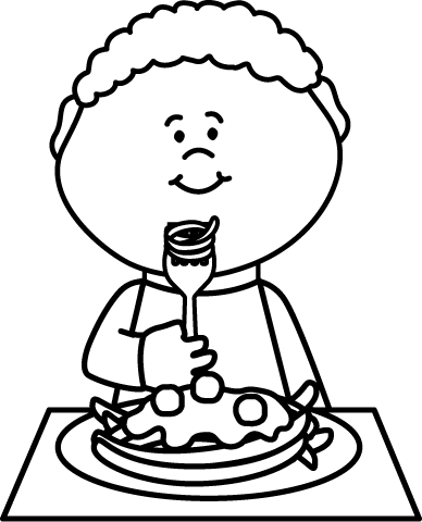 eating breakfast clipart black and white