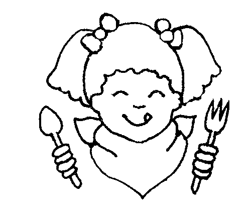 Girl Eating Clipart Black And White.