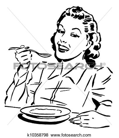 Clipart of Female patient eating gelatine with spoon. nu105011.