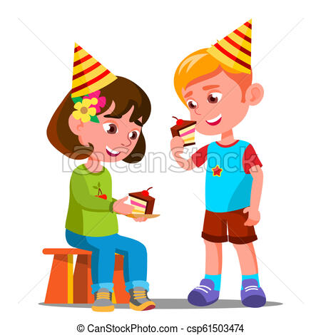 Happy Children Eating A Birthday Cake Vector. Isolated Illustration.