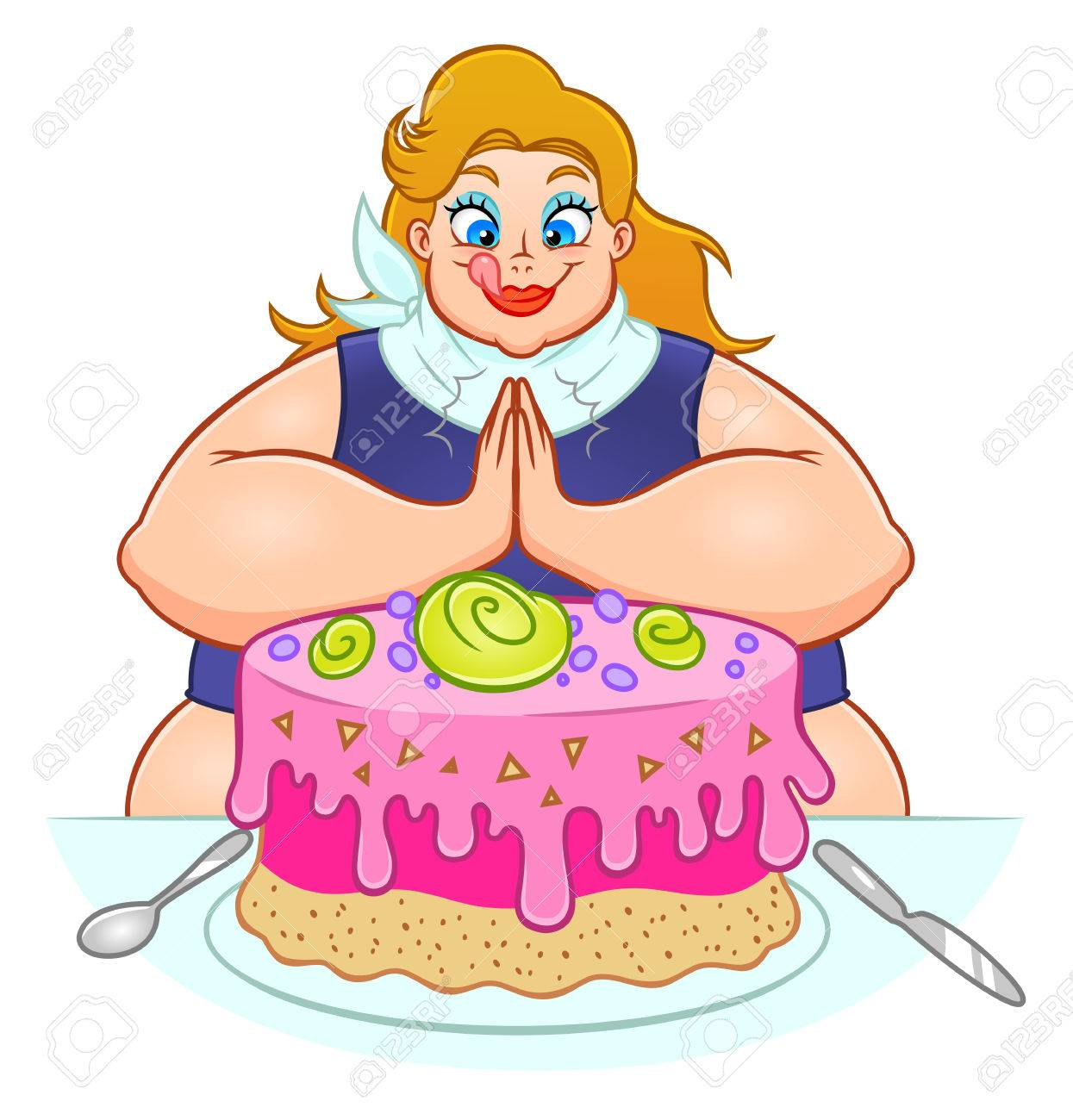 Fat woman is going to eat a huge cake..