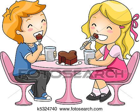 Kids Eating Chocolate Cake Clipart.