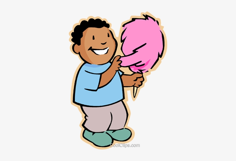 Boy With Candy Floss Royalty Free Vector Clip Art.