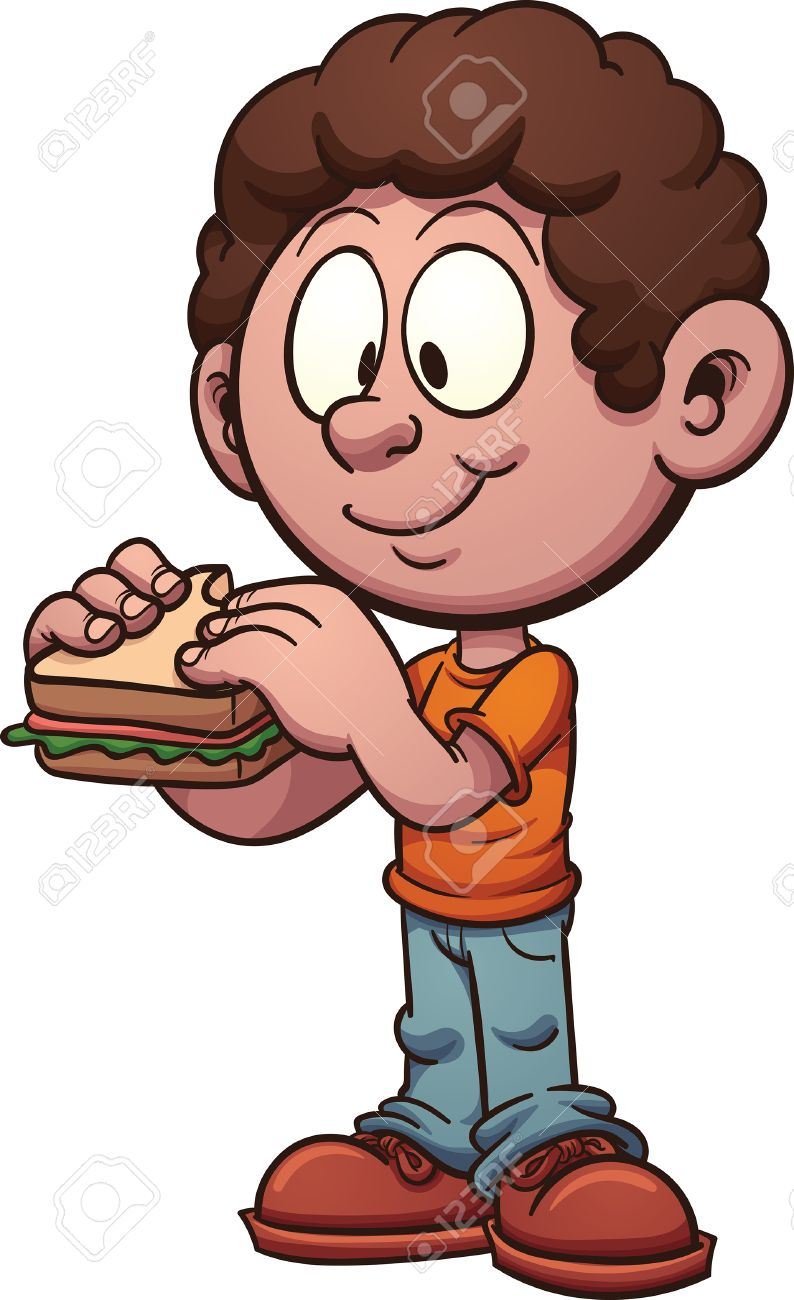 Cartoon kid eating a sandwich. Vector clip art illustration with...