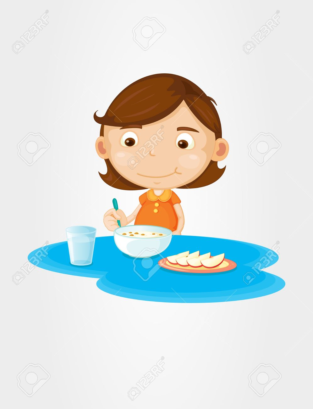 Girl eating cereal and fruit.