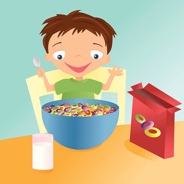 Best Kid Eating Cereal Illustrations, Royalty.