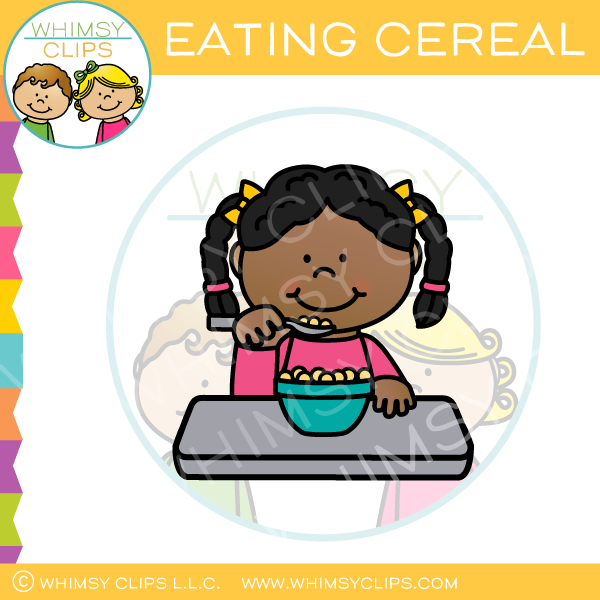 Girl Eating Cereal Clip Art.