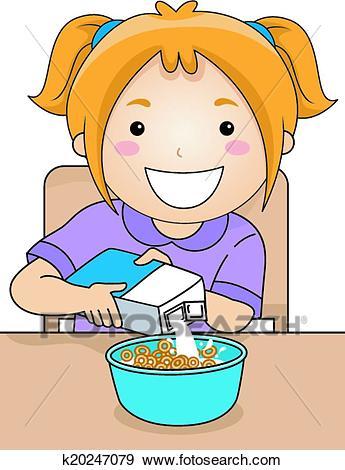 Milk Cereal Girl Clip Art.