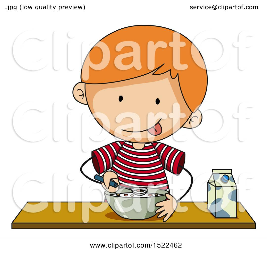 Clipart of a Boy Eating Cereal.