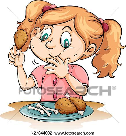 Hungry girl eating chicken Clipart.