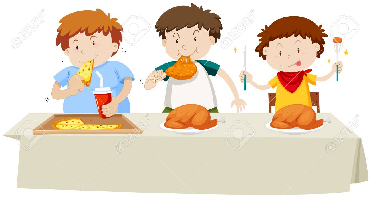 Three boys eating chicken and pizza at the dining table illustration.